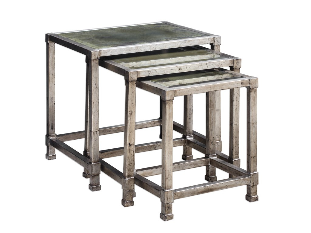 Uttermost Accent Furniture - Occasional TablesKeanna Antiqued Silver Nesting Tables, S/3