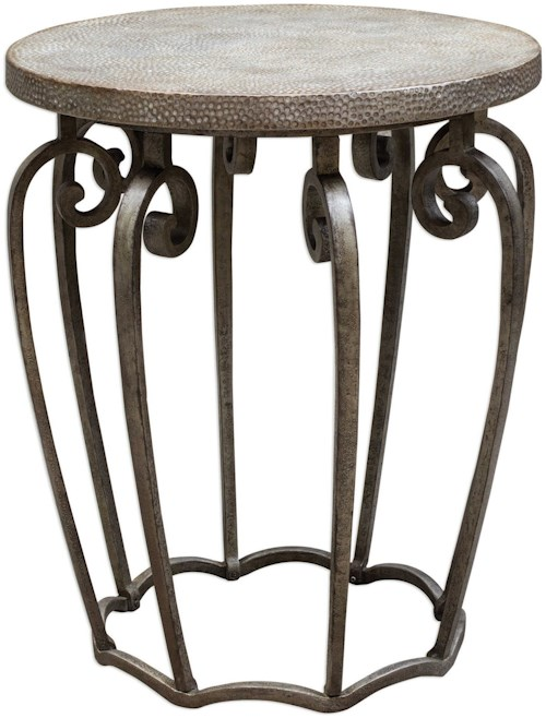 Uttermost Accent Furniture Anina Hammered Iron Accent Table