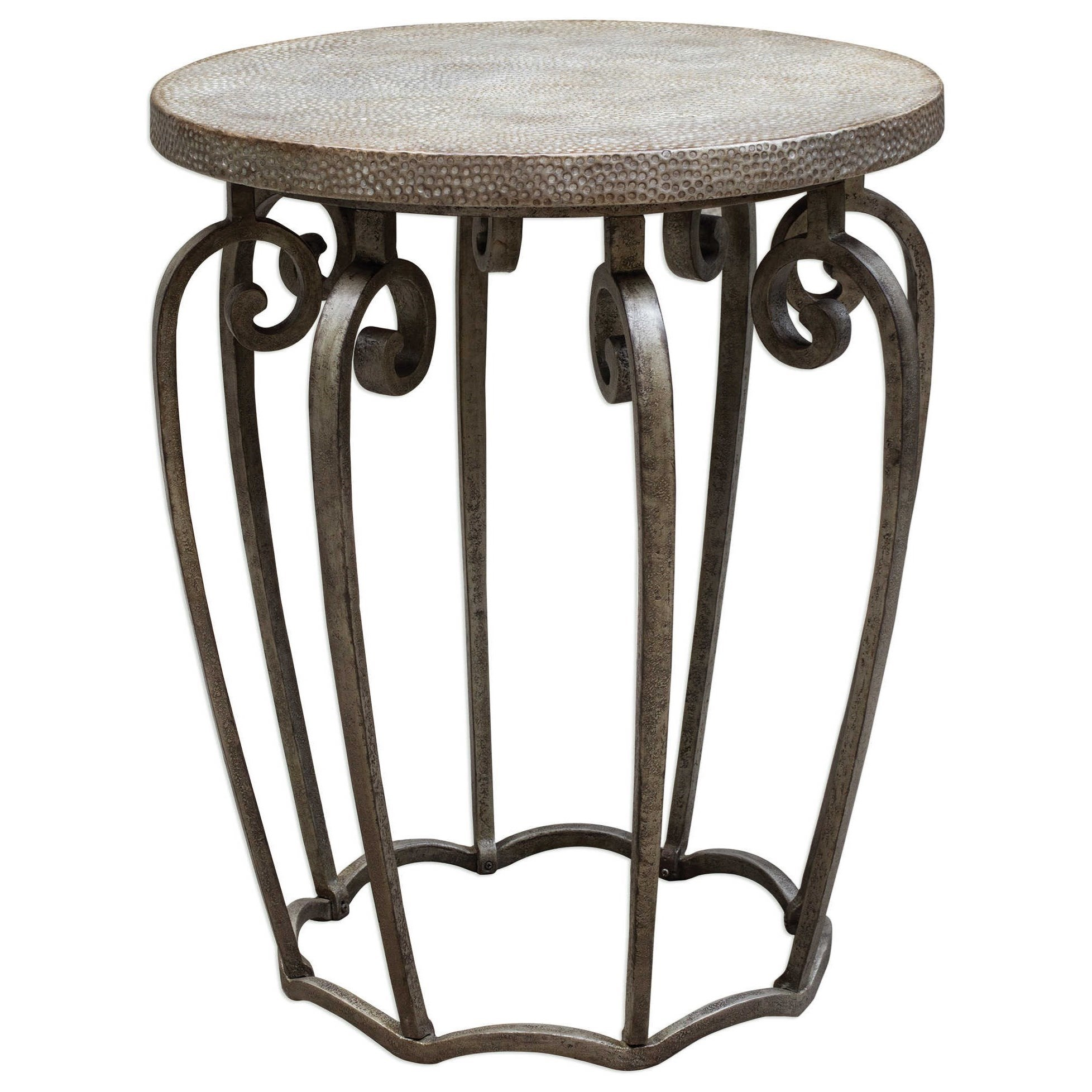 Medium image of uttermost accent furniture anina hammered iron accent table