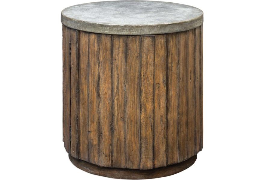 Accent Furniture Occasional Tables Maxfield Wooden Drum Table By Uttermost At Dunk Bright