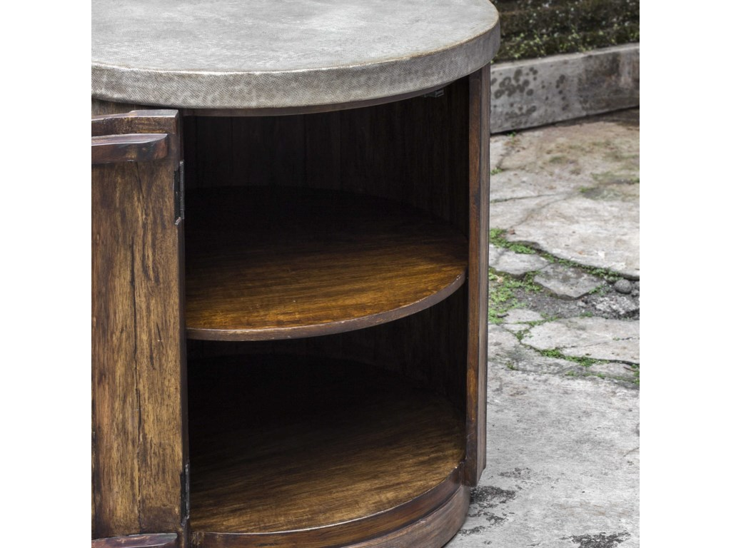 Uttermost Accent Furniture - Occasional TablesMaxfield Wooden Drum Accent Table