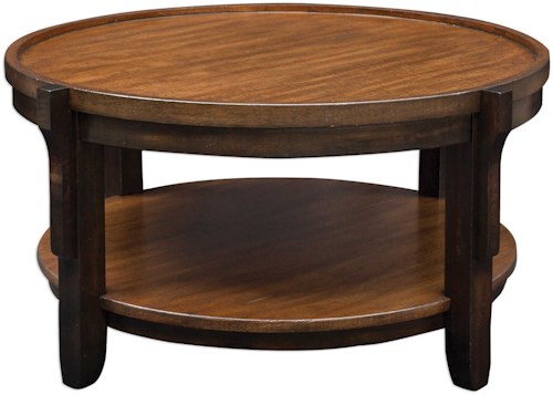 Uttermost Accent Furniture Sigmon Round Wooden Coffee Table