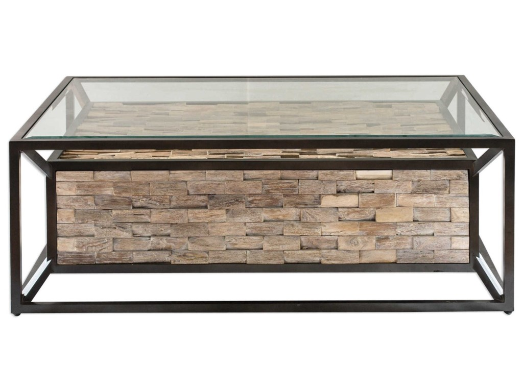 Uttermost Accent Furniture Kono Reclaimed Teak Coffee Table - Uttermost driftwood cocktail table