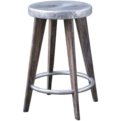 Uttermost Accent Furniture Maxen Hammered Top Counter Stool