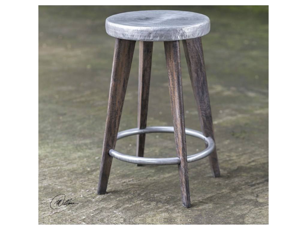 Uttermost Accent Furniture - StoolsMaxen Hammered Top Counter Stool