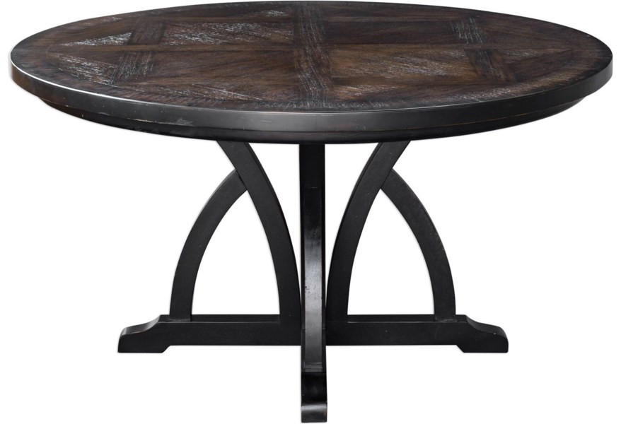 Accent Furniture Maiva Round Black Dining Table by Uttermost at Dunk &  Bright Furniture