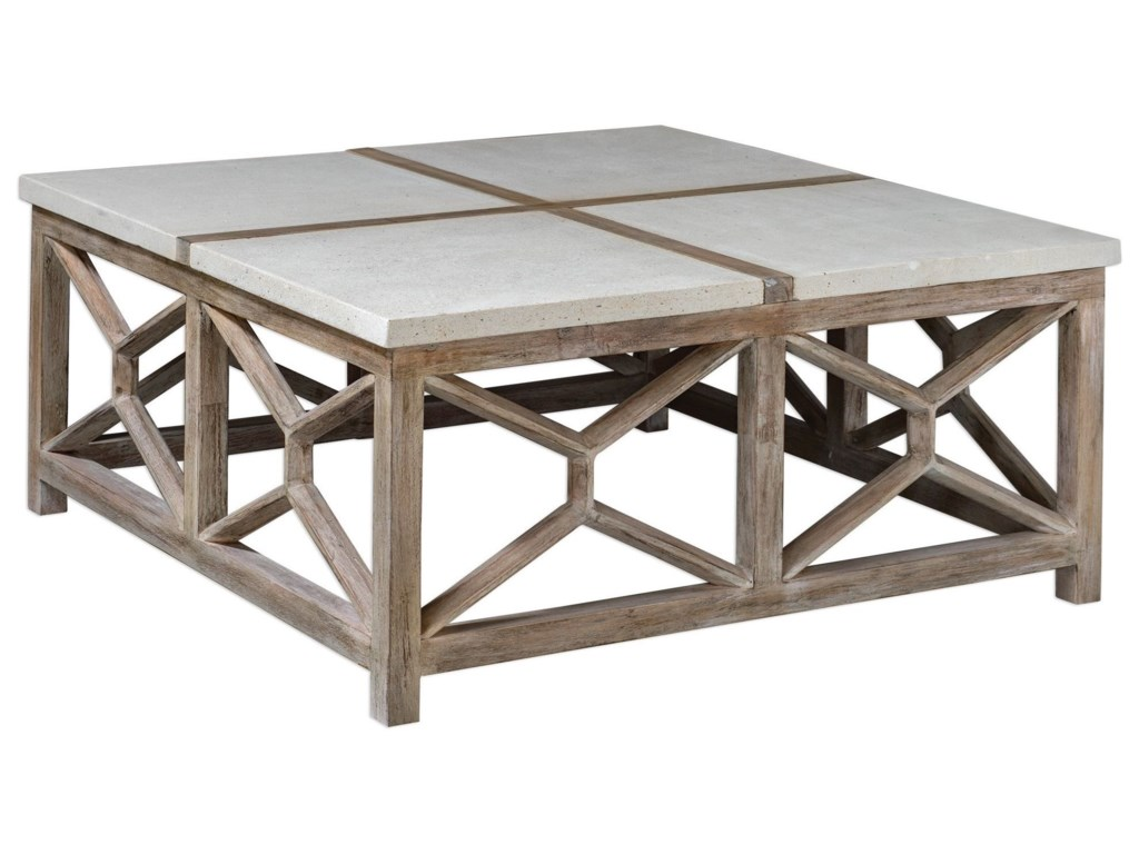 Uttermost Accent Furniture Catali Stone Coffee Table Miskelly - Uttermost driftwood cocktail table