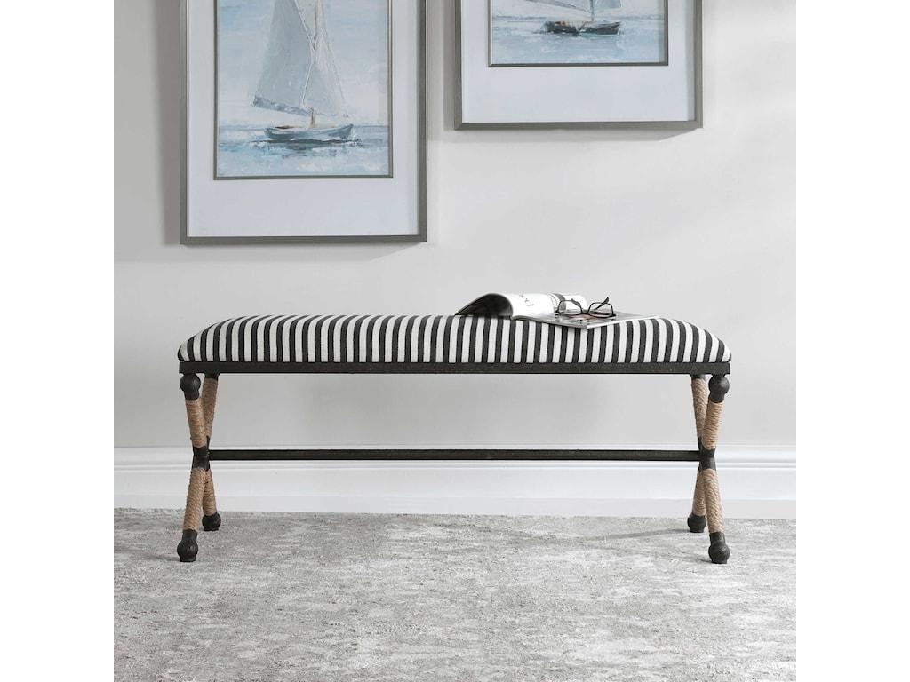 Uttermost Accent Furniture - BenchesBraddock Striped Bench