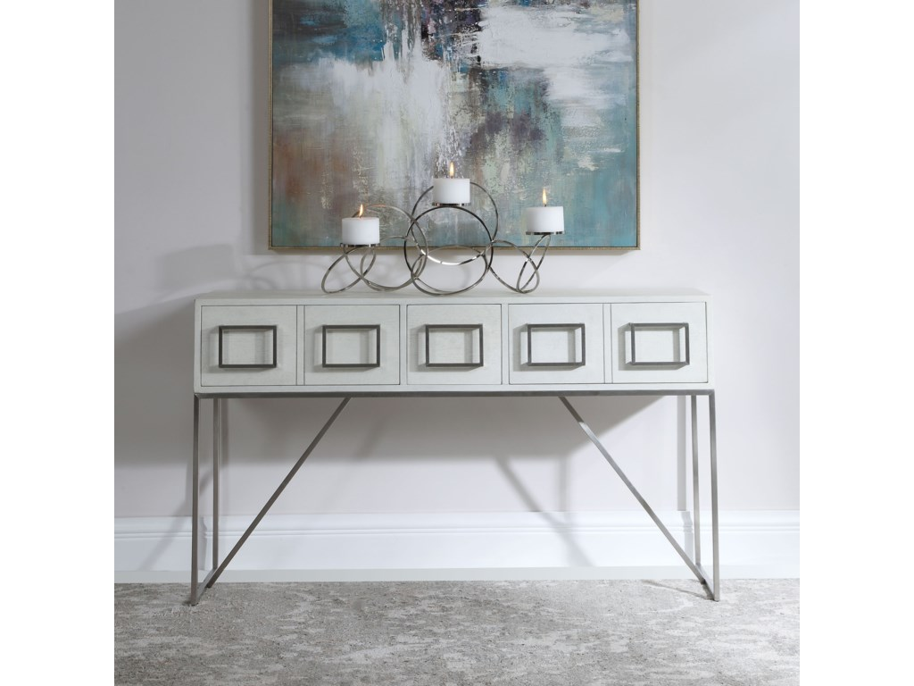 Uttermost Accent Furniture - Occasional TablesAbaya White Console Table