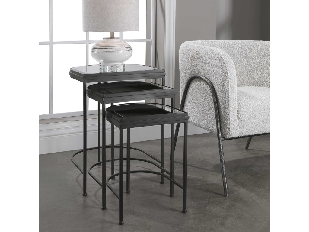 Uttermost Accent Furniture - Occasional TablesBlack Nesting Tables, S/3