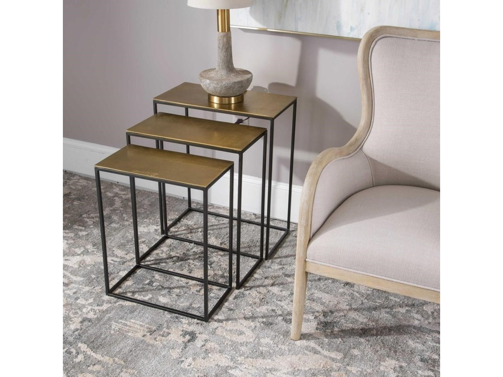 Uttermost Accent Furniture - Occasional TablesCoreene Gold Nesting Tables Set/3