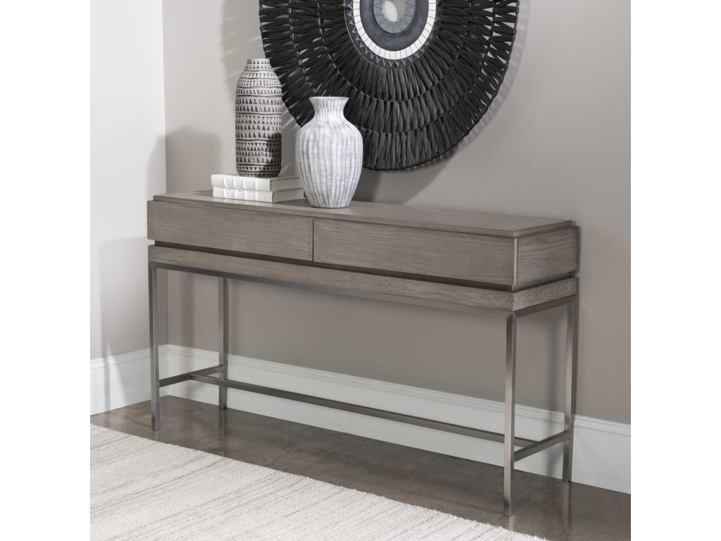 Uttermost Accent Furniture - Occasional TablesKamala Gray Oak Console Table