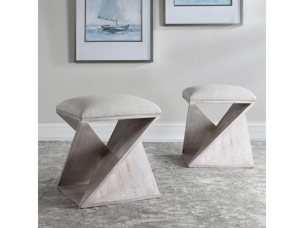 Uttermost Accent Furniture - OttomansBenue Gray Ottoman