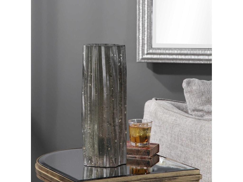 Uttermost Accent LampsCadeau Charcoal Glass Accent Lamp