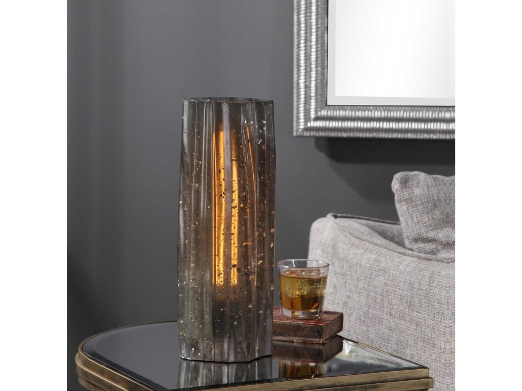 Uttermost Accent LampsCadeau Charcoal Glass Accent Lamp