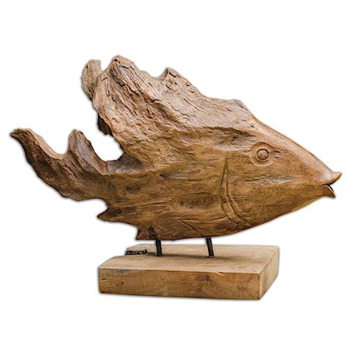 Uttermost Accessories Teak Fish Sculpture