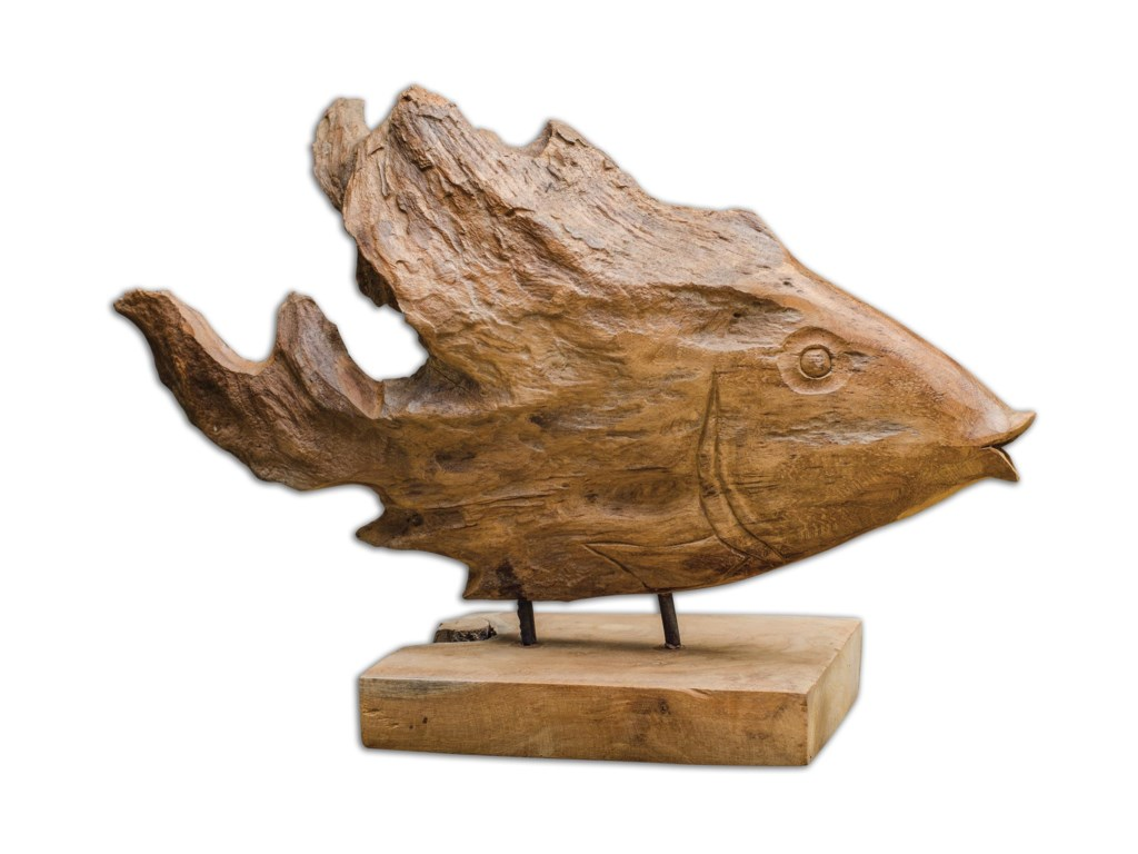 Uttermost Accessories - Statues and FigurinesTeak Fish Sculpture