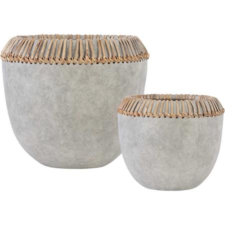 Aponi Concrete Ray Bowls, S/2
