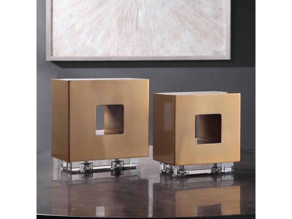 Uttermost AccessoriesRooney Brass Cubes, S/2