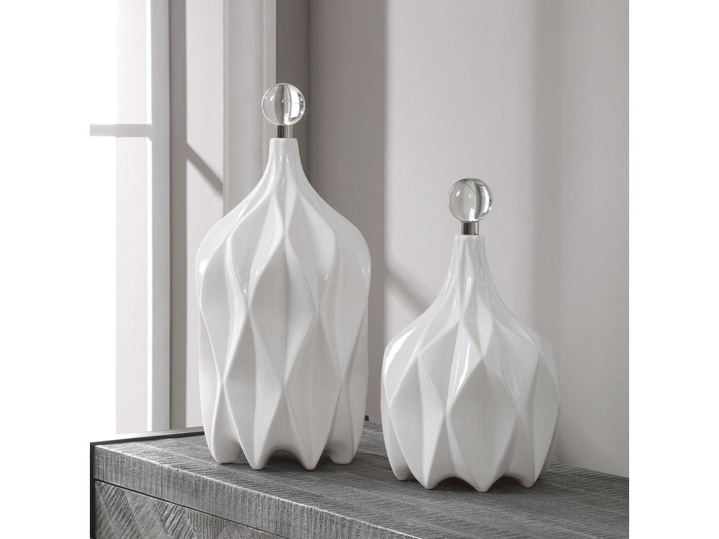 Uttermost AccessoriesWhite Bottles, S/2