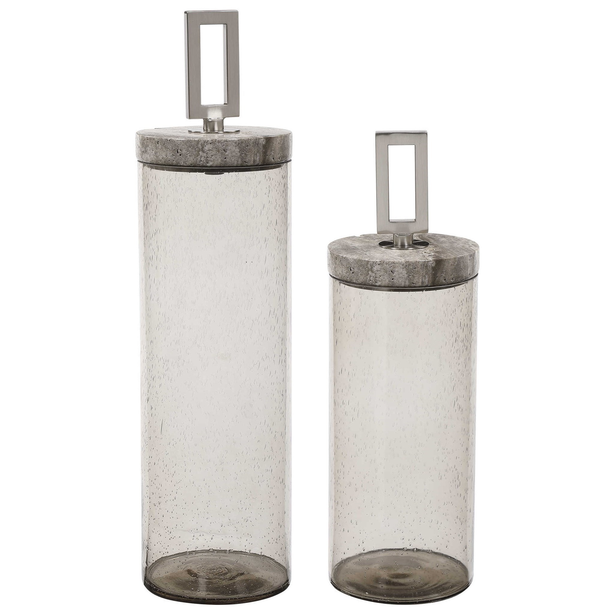 Seeded Glass Containers, Set of 2