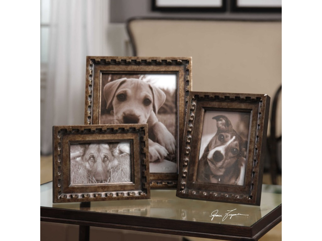 Uttermost Accessories - Picture FramesKalya Antiqued Bronze Photo Frames Set of 3