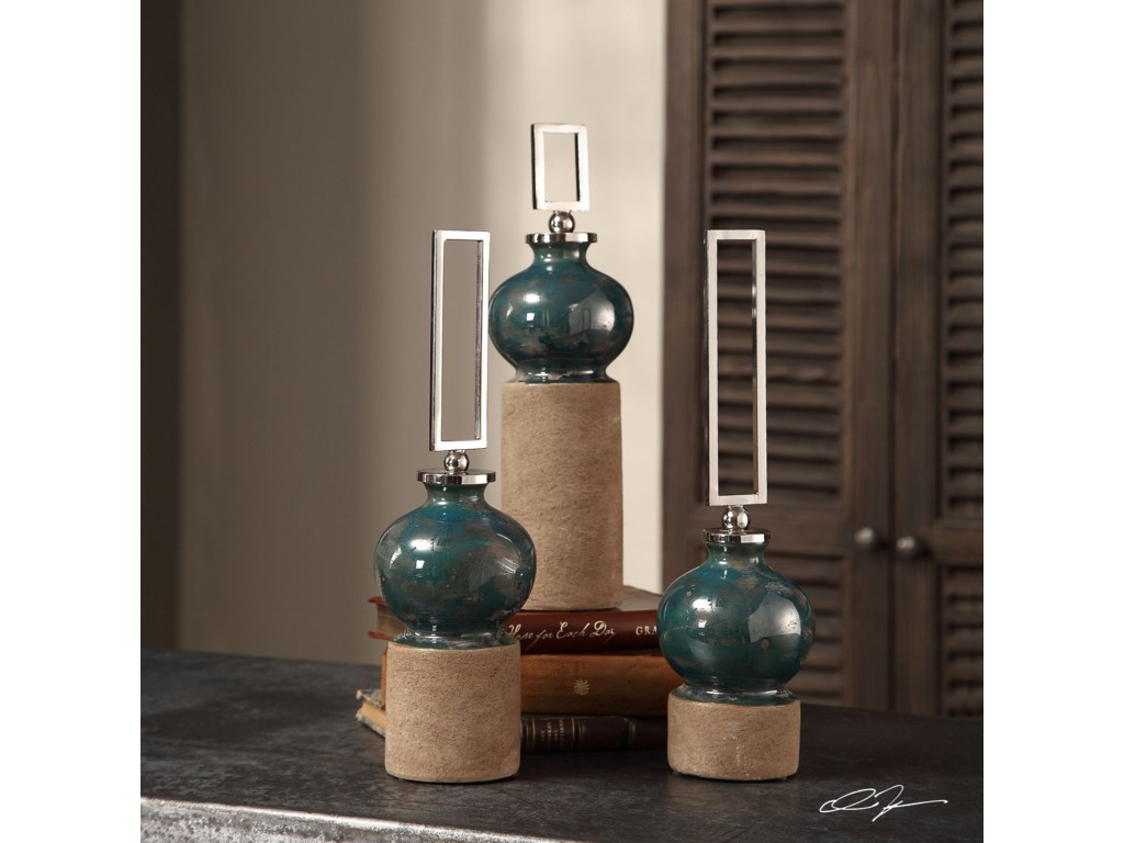 Uttermost AccessoriesFrancis Blue Glaze Bottles S/3