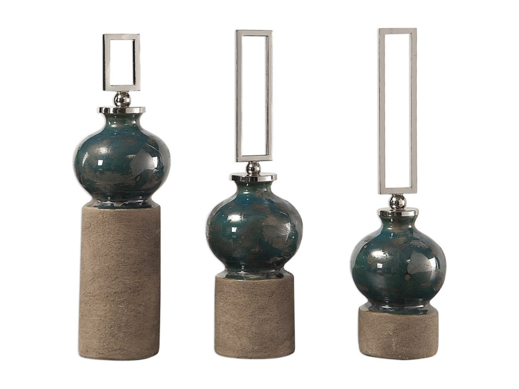 Uttermost AccessoriesFrancis Blue Glaze Bottles S/3