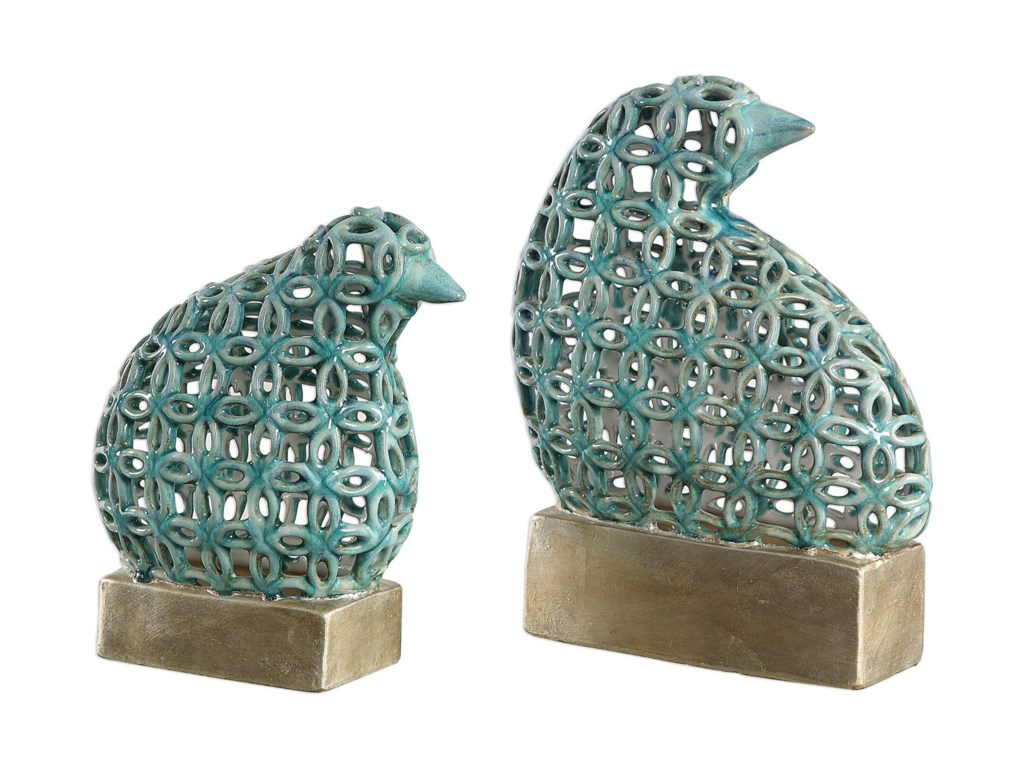 Uttermost Accessories - Statues and FigurinesSama Teal Bird Sculptures, S/2