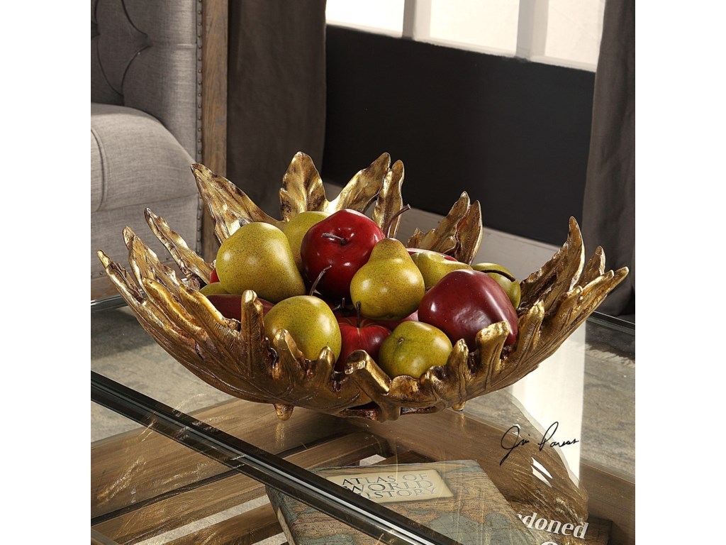 Uttermost AccessoriesOak Leaf Metallic Gold Bowl