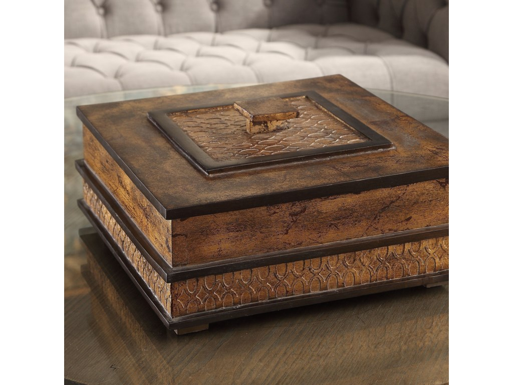 Uttermost Accessories - BoxesRay Gold Leaf Box
