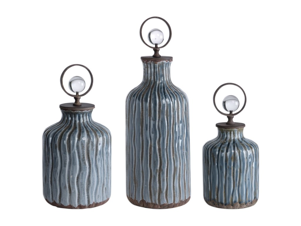 Uttermost AccessoriesMathias Grey-Blue Vessels, S/3
