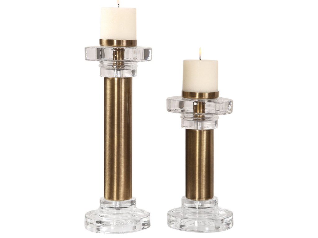 Uttermost Accessories - Candle HoldersLeslie Brushed Brass Candleholders, S/2