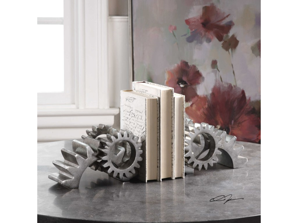 Uttermost AccessoriesGears Silver Bookends (Set of 2)