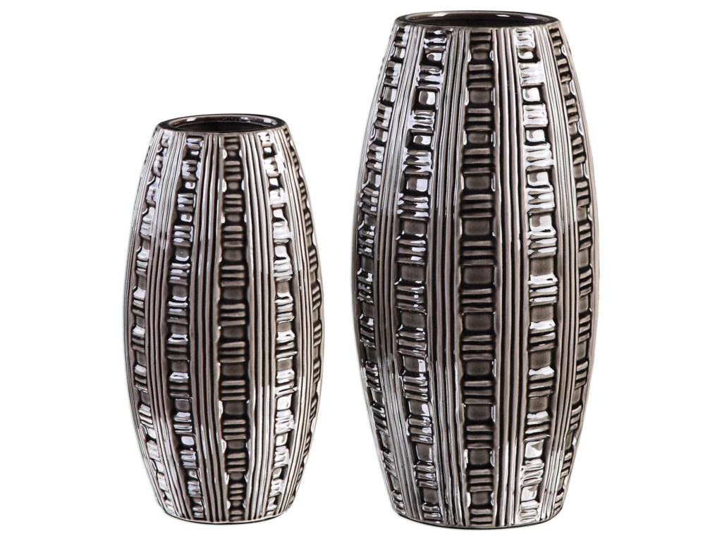 Uttermost Accessories - Vases and UrnsAura Weave Pattern Vases (Set of 2)