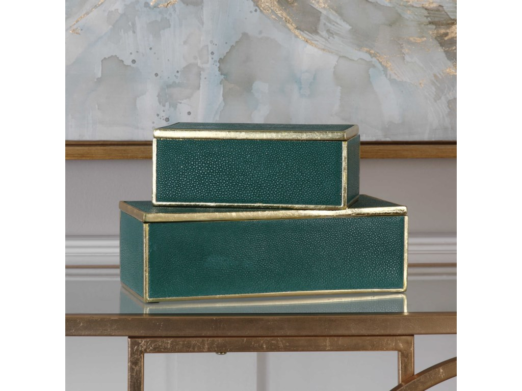 Uttermost Accessories - BoxesKaris Emerald Green Boxes (Set of 2)