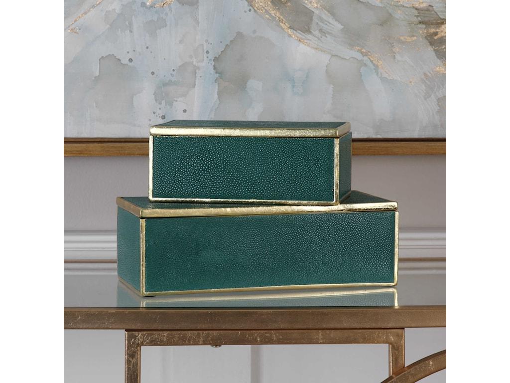 Uttermost AccessoriesKaris Emerald Green Boxes (Set of 2)
