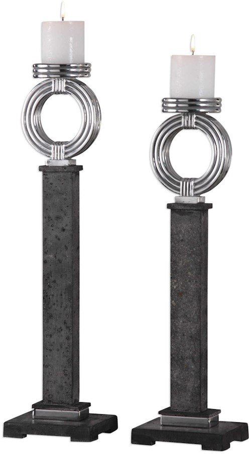 Uttermost Accessories Docia Charcoal Candleholders (Set of 2)