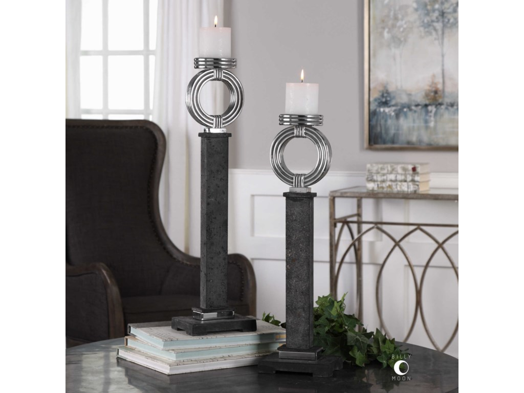 Uttermost AccessoriesDocia Charcoal Candleholders (Set of 2)