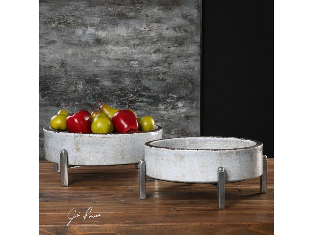 Uttermost AccessoriesEssie Pale Gray Bowls (Set of 2)