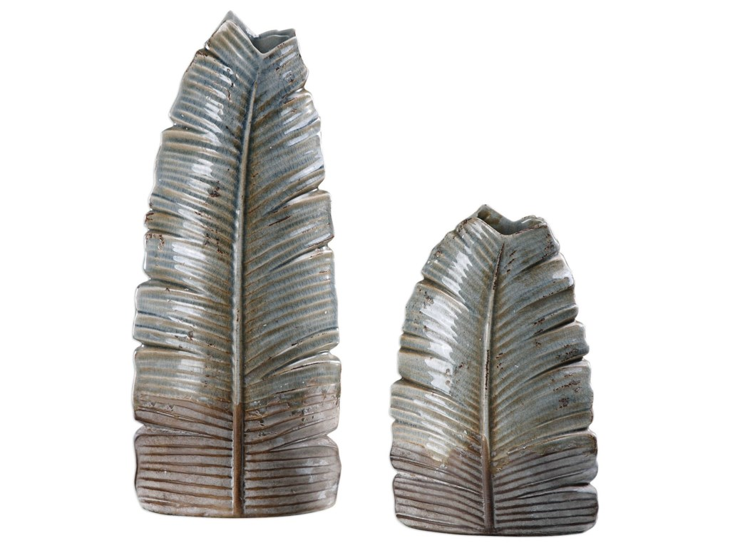 Uttermost Accessories - Vases and UrnsInvano Leaf Vases (Set of 2)