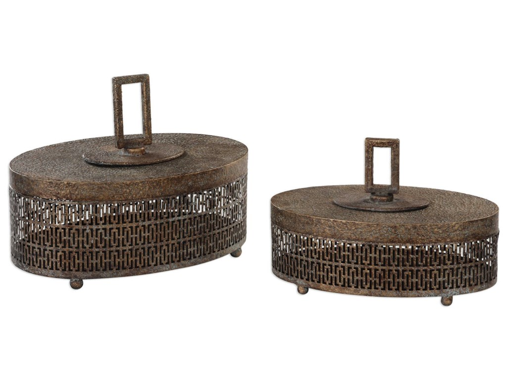 Uttermost Accessories - BoxesAgnese Antiqued Gold Boxes, Set of 2