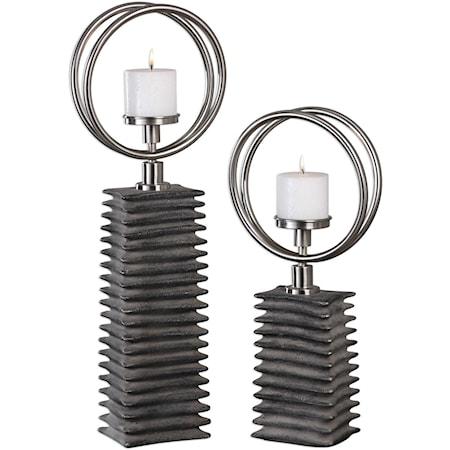 Eugenio Black Ceramic Candleholders