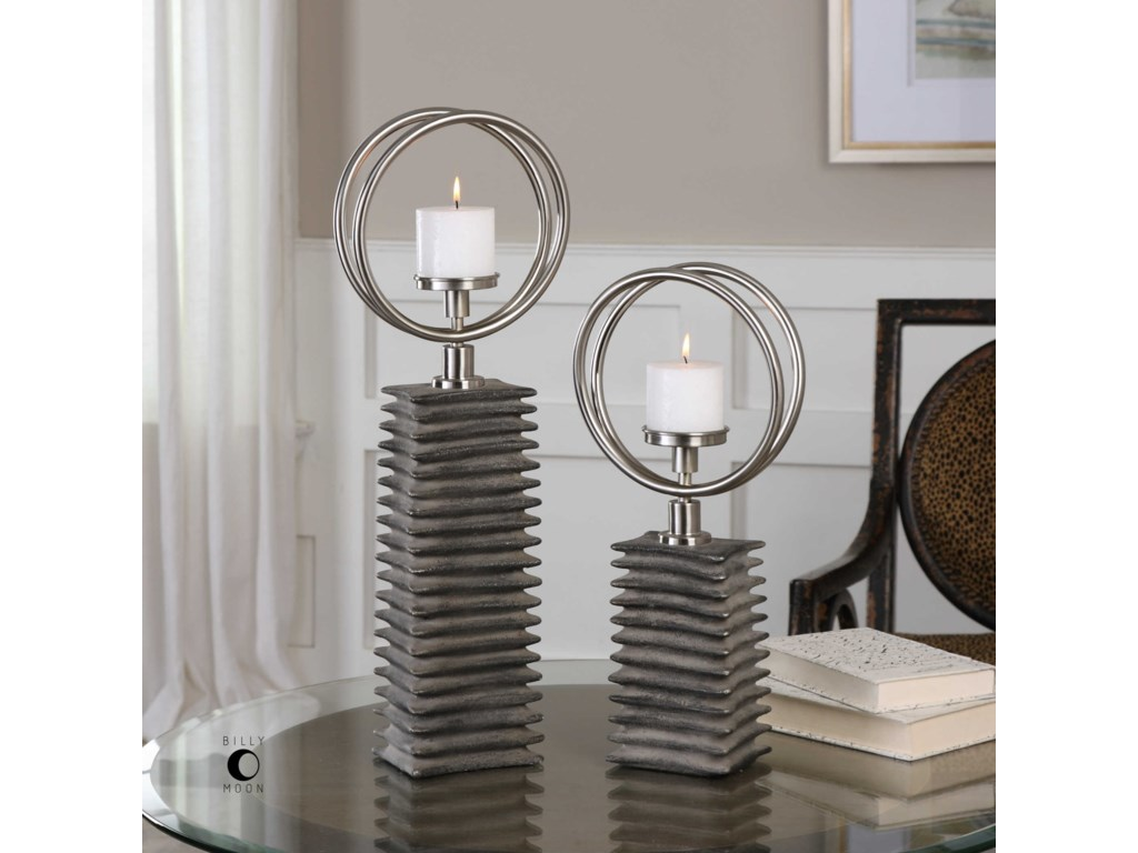 Uttermost AccessoriesEugenio Black Ceramic Candleholders