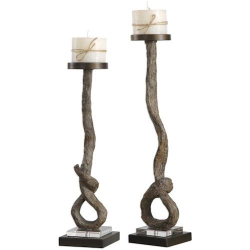 Uttermost Accessories Driftwood Candleholders Set of 2