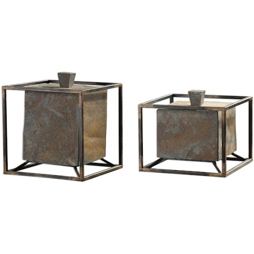 Uttermost Accessories Slate Cube Boxes Set of 2