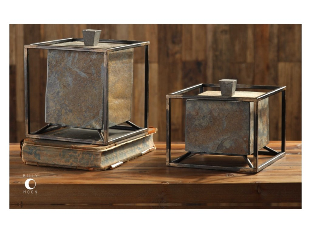Uttermost AccessoriesSlate Cube Boxes Set of 2