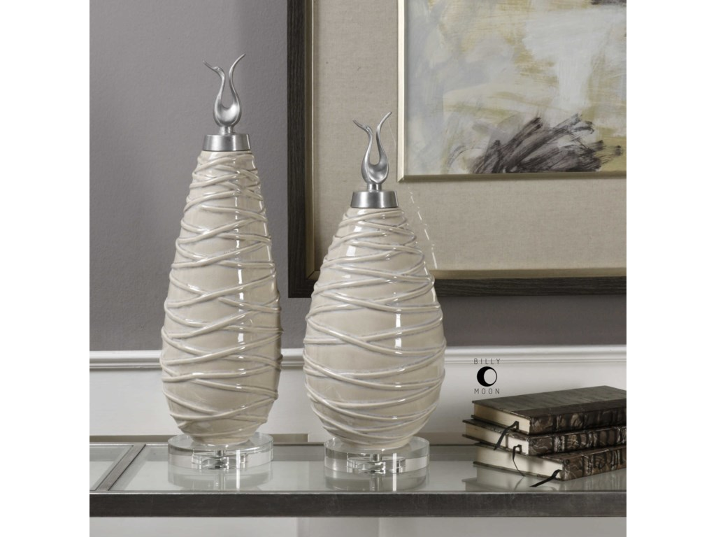 Uttermost AccessoriesRomeo Crackled Light Gray Finials Set of 2