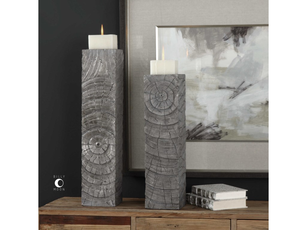 Uttermost AccessoriesOdion Wooden Log Candleholders Set of 2