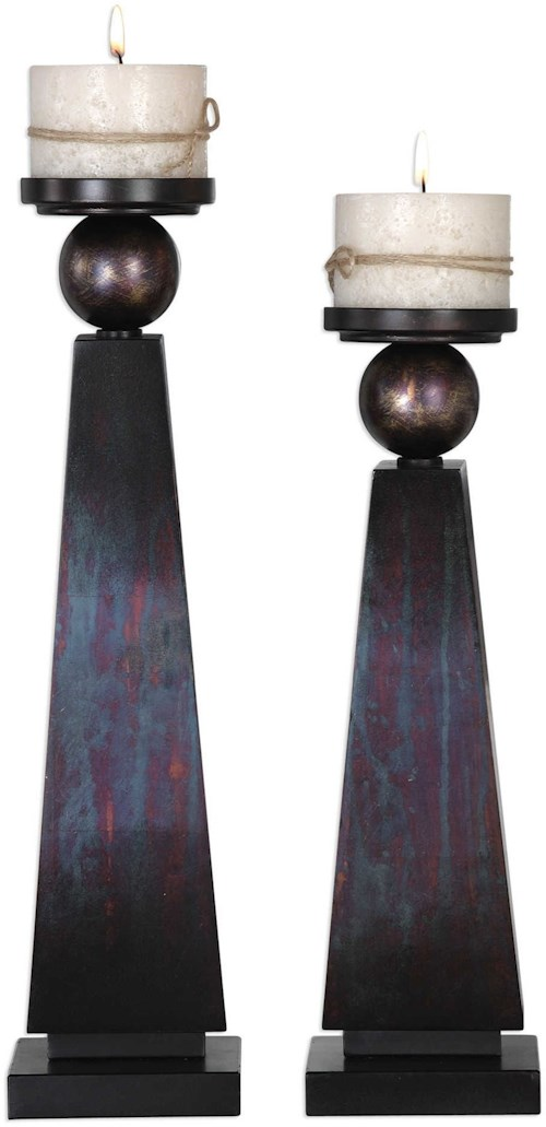 Uttermost Accessories Geremia Oxidized Bronze Candleholders Set of 2